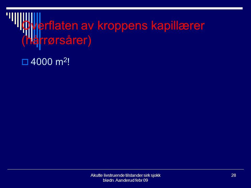 Akutte livstruende tilstander sirk sjokk blødn. Aanderud febr 09 28 Overflaten av kroppens kapillærer (hårrørsårer)  4000 m 2 !