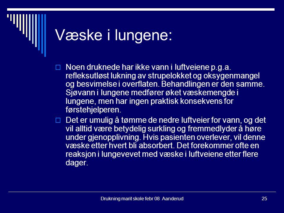 Drukning marit skole febr 08 Aanderud25 Væske i lungene:  Noen druknede har ikke vann i luftveiene p.g.a. refleksutløst lukning av strupelokket og ok