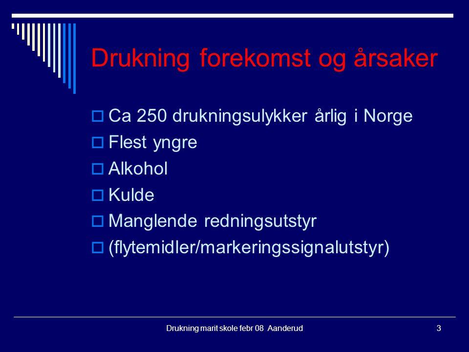 Drukning marit skole febr 08 Aanderud3 Drukning forekomst og årsaker  Ca 250 drukningsulykker årlig i Norge  Flest yngre  Alkohol  Kulde  Manglen