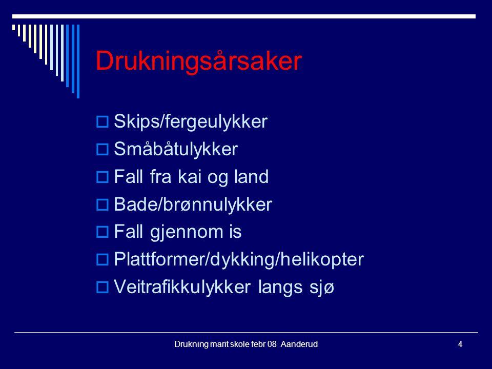 Drukning marit skole febr 08 Aanderud4 Drukningsårsaker  Skips/fergeulykker  Småbåtulykker  Fall fra kai og land  Bade/brønnulykker  Fall gjennom