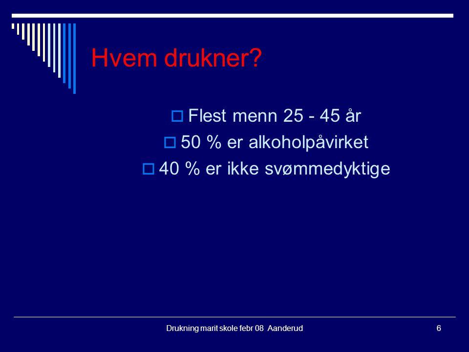 Drukning marit skole febr 08 Aanderud6 Hvem drukner?  Flest menn 25 - 45 år  50 % er alkoholpåvirket  40 % er ikke svømmedyktige