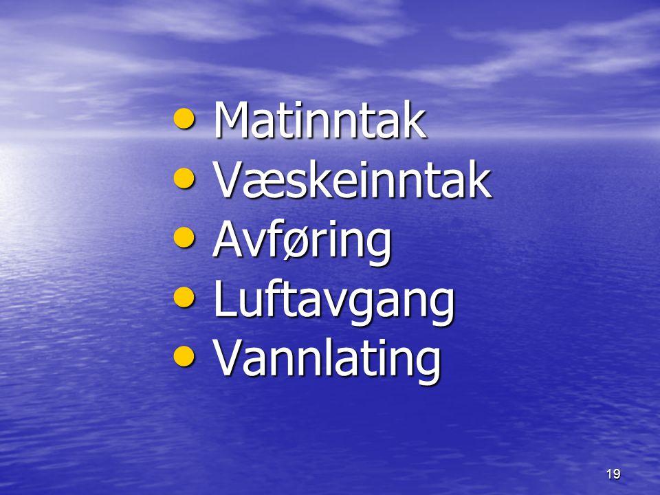 19 Matinntak Matinntak Væskeinntak Væskeinntak Avføring Avføring Luftavgang Luftavgang Vannlating Vannlating