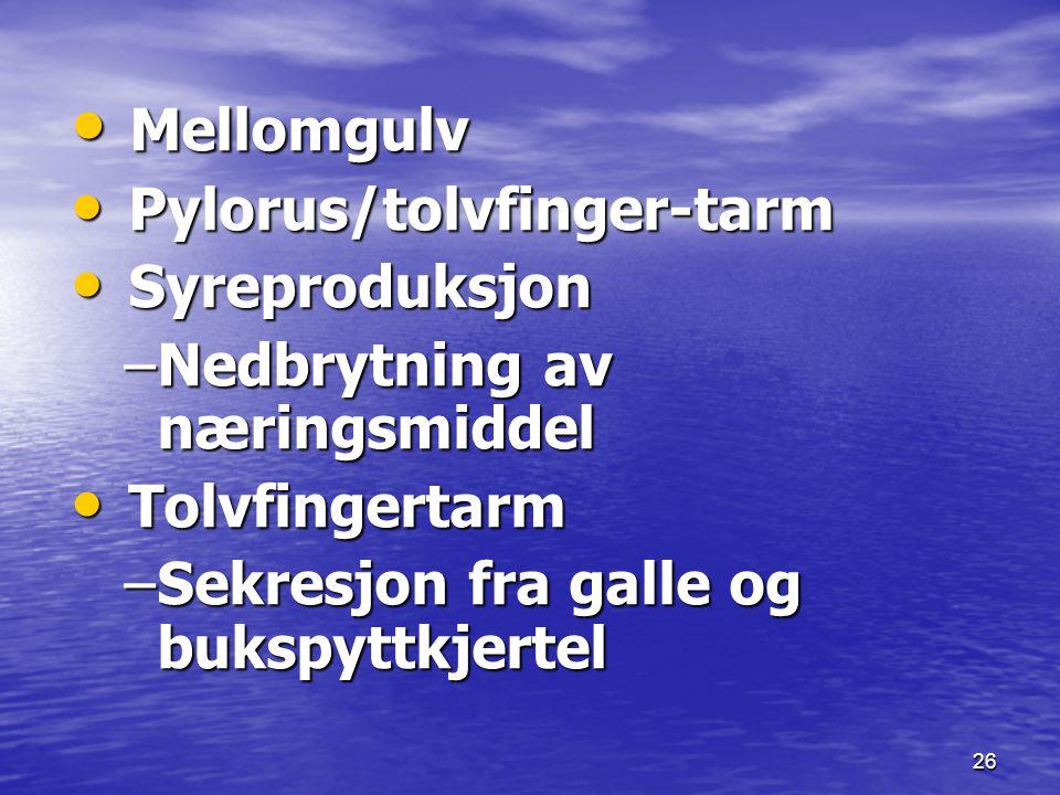 26 Mellomgulv Mellomgulv Pylorus/tolvfinger-tarm Pylorus/tolvfinger-tarm Syreproduksjon Syreproduksjon –Nedbrytning av næringsmiddel Tolvfingertarm To