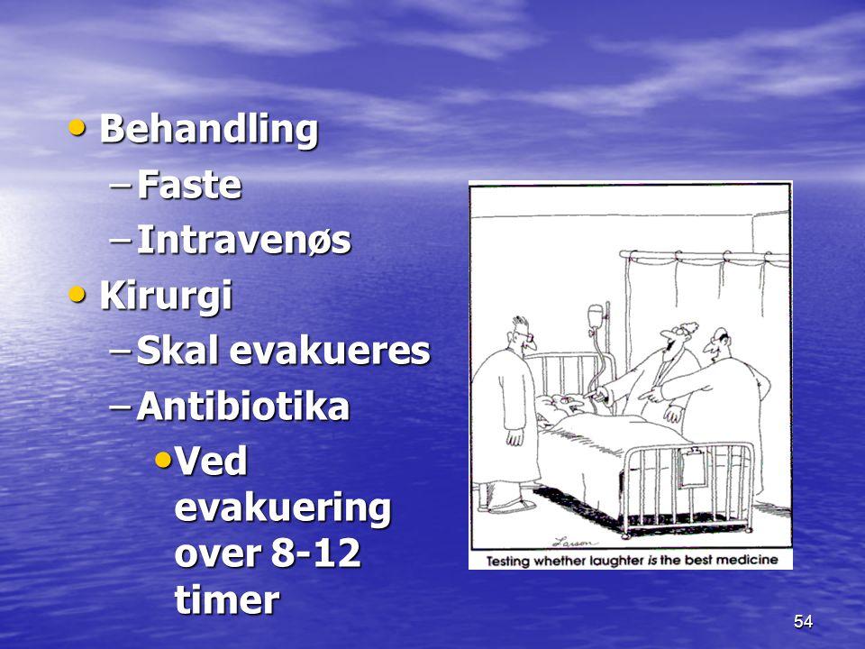 54 Behandling Behandling –Faste –Intravenøs Kirurgi Kirurgi –Skal evakueres –Antibiotika Ved evakuering over 8-12 timer Ved evakuering over 8-12 timer