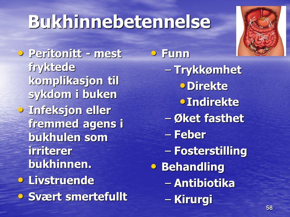 58 Bukhinnebetennelse Bukhinnebetennelse Peritonitt - mest fryktede komplikasjon til sykdom i buken Peritonitt - mest fryktede komplikasjon til sykdom