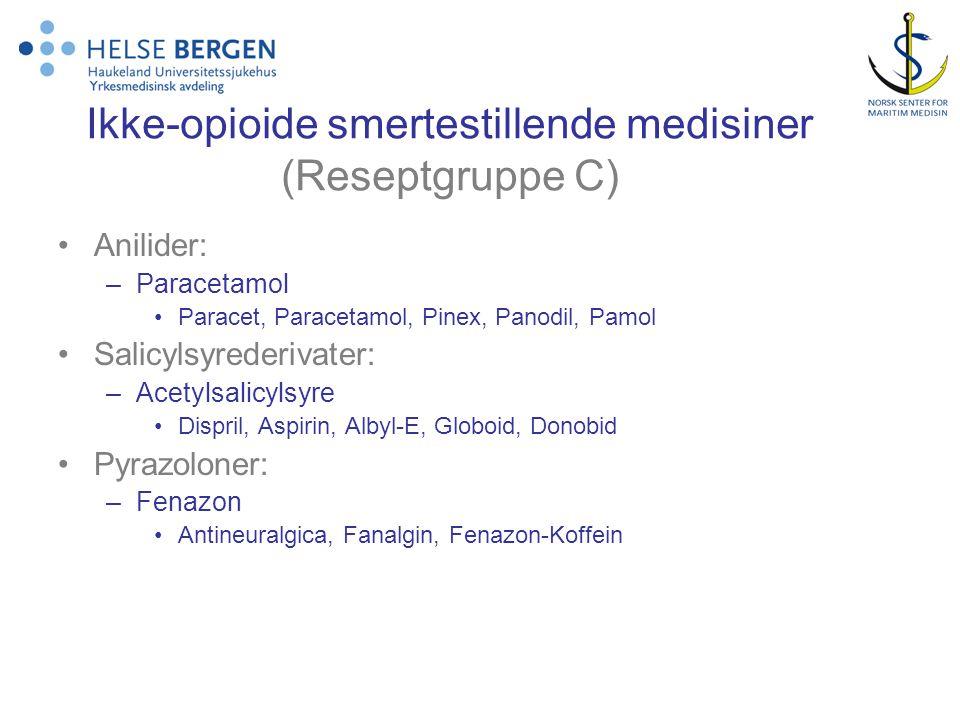 Ikke-opioide smertestillende medisiner (Reseptgruppe C) Anilider: –Paracetamol Paracet, Paracetamol, Pinex, Panodil, Pamol Salicylsyrederivater: –Acet