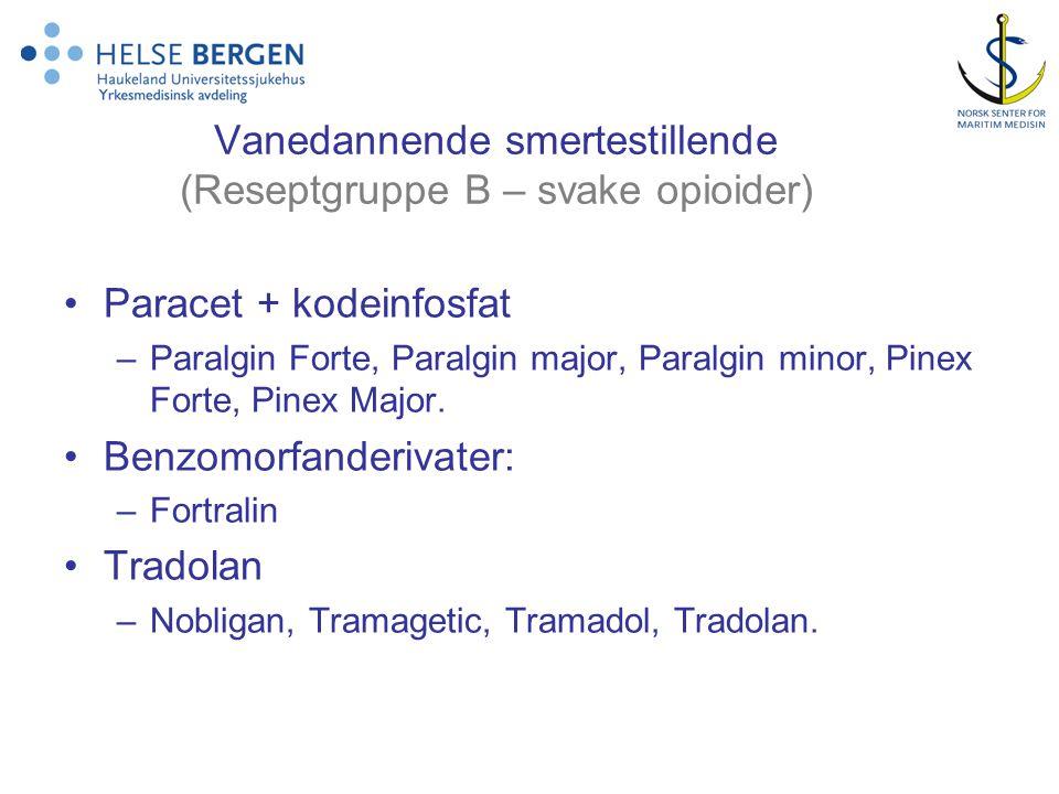 Vanedannende smertestillende (Reseptgruppe B – svake opioider) Paracet + kodeinfosfat –Paralgin Forte, Paralgin major, Paralgin minor, Pinex Forte, Pi