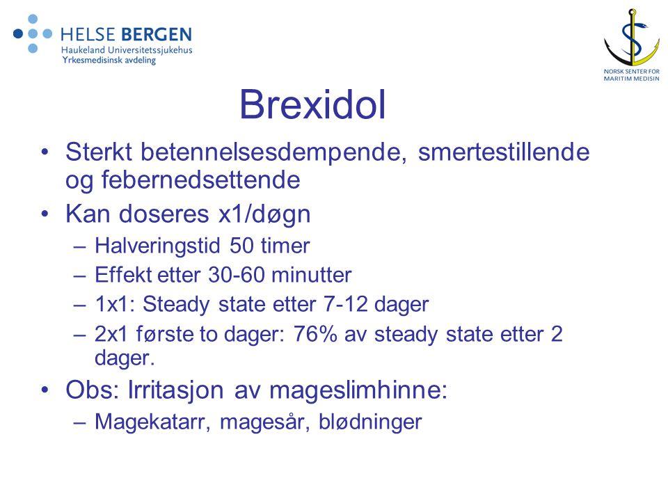 Brexidol Sterkt betennelsesdempende, smertestillende og febernedsettende Kan doseres x1/døgn –Halveringstid 50 timer –Effekt etter 30-60 minutter –1x1