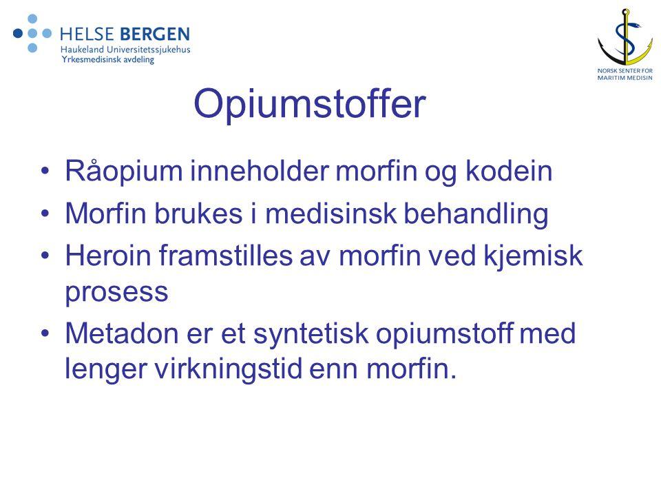Opiumstoffer Råopium inneholder morfin og kodein Morfin brukes i medisinsk behandling Heroin framstilles av morfin ved kjemisk prosess Metadon er et s