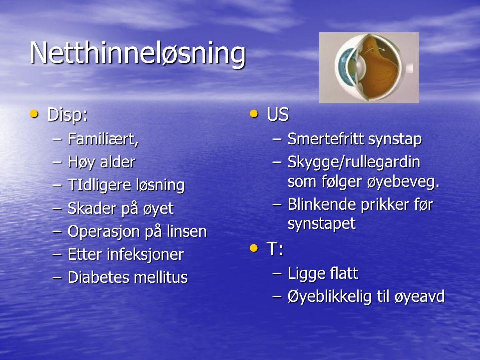 Netthinneløsning Disp: Disp: –Familiært, –Høy alder –TIdligere løsning –Skader på øyet –Operasjon på linsen –Etter infeksjoner –Diabetes mellitus US US –Smertefritt synstap –Skygge/rullegardin som følger øyebeveg.