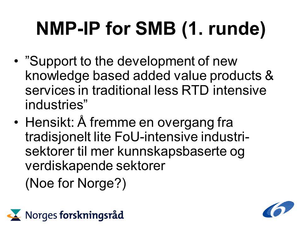 NMP-IP for SMB (1.runde) Søknadsfrist 10.4.2003, budsjett 40 M € 36 prosjektforslag (1.