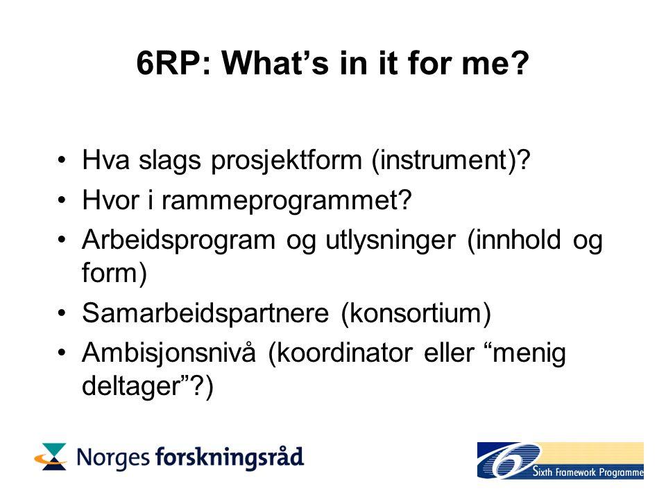 6RP: Hva slags prosjektform (instrument).