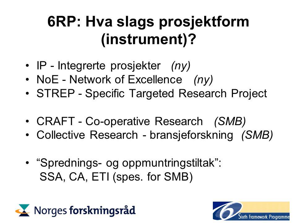 6RP: Innhold og form Arbeidsprogram Utlysning (Call for Proposals) Guide for proposers, guide for evaluators, etc.