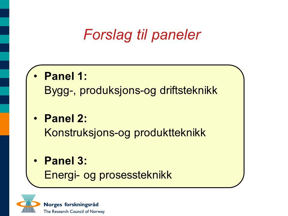Forslag til paneler Panel 1: Bygg-, produksjons-og driftsteknikk Panel 2: Konstruksjons-og produktteknikk Panel 3: Energi- og prosessteknikk