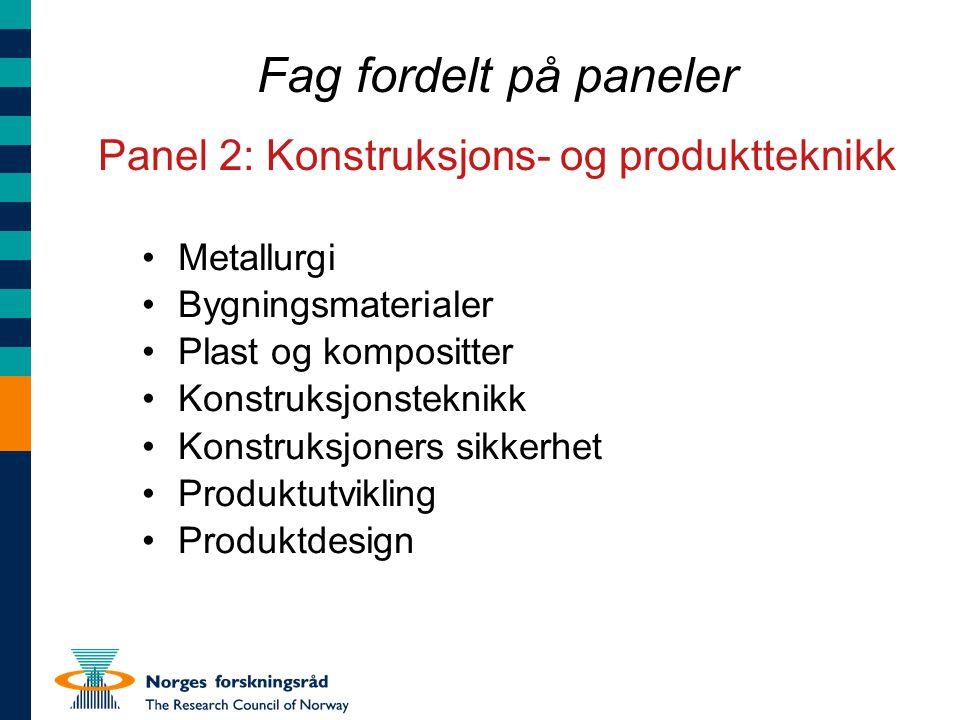 Fag fordelt på paneler Panel 2: Konstruksjons- og produktteknikk Metallurgi Bygningsmaterialer Plast og kompositter Konstruksjonsteknikk Konstruksjone