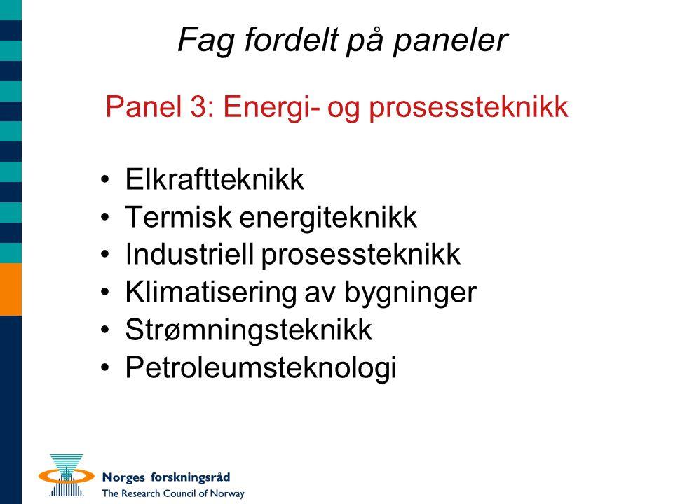 Fag fordelt på paneler Panel 3: Energi- og prosessteknikk Elkraftteknikk Termisk energiteknikk Industriell prosessteknikk Klimatisering av bygninger S