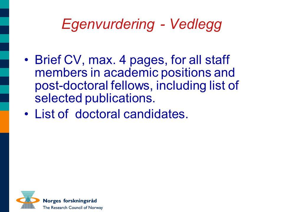 Egenvurdering - Vedlegg Brief CV, max.