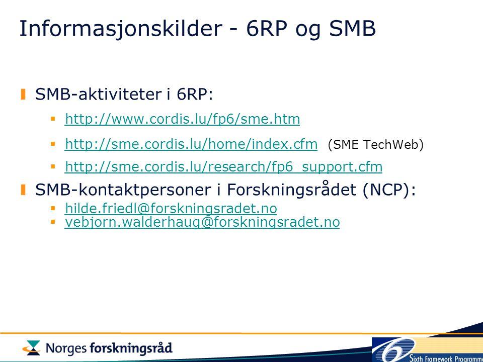 Informasjonskilder - 6RP og SMB SMB-aktiviteter i 6RP:  http://www.cordis.lu/fp6/sme.htm http://www.cordis.lu/fp6/sme.htm  http://sme.cordis.lu/home/index.cfm (SME TechWeb) http://sme.cordis.lu/home/index.cfm  http://sme.cordis.lu/research/fp6_support.cfm http://sme.cordis.lu/research/fp6_support.cfm SMB-kontaktpersoner i Forskningsrådet (NCP):  hilde.friedl@forskningsradet.no hilde.friedl@forskningsradet.no  vebjorn.walderhaug@forskningsradet.no vebjorn.walderhaug@forskningsradet.no
