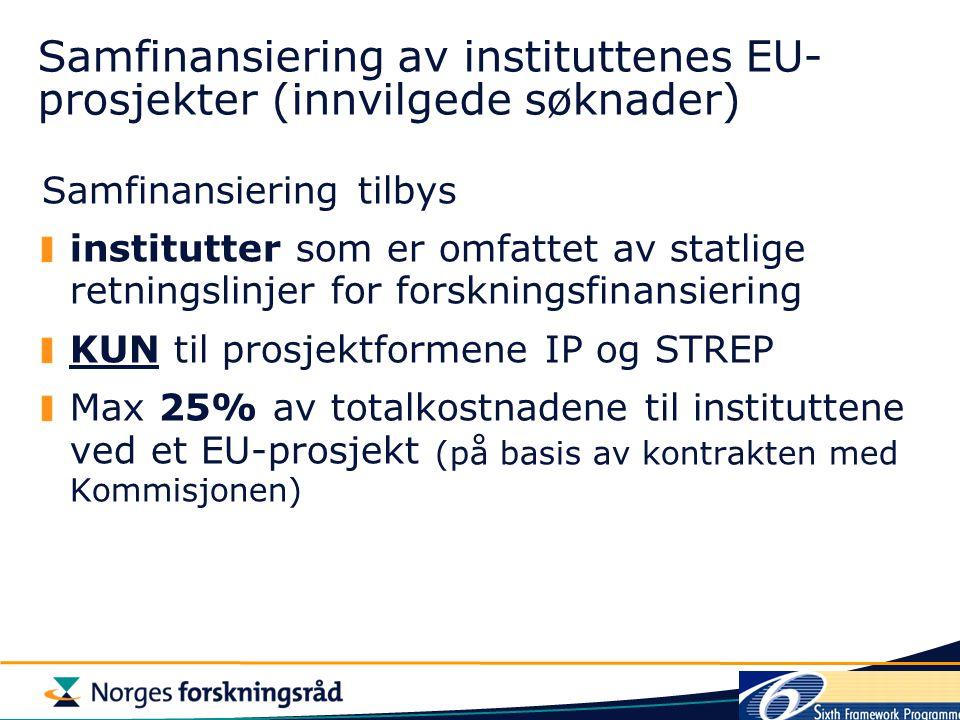 Samfinansiering av instituttenes EU- prosjekter (innvilgede søknader) Samfinansiering tilbys institutter som er omfattet av statlige retningslinjer for forskningsfinansiering KUN til prosjektformene IP og STREP Max 25% av totalkostnadene til instituttene ved et EU-prosjekt (på basis av kontrakten med Kommisjonen)