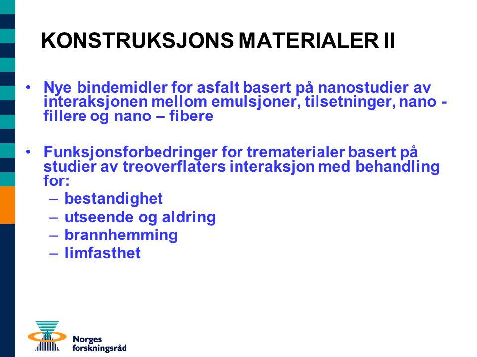 KONSTRUKSJONS MATERIALER II Nye bindemidler for asfalt basert på nanostudier av interaksjonen mellom emulsjoner, tilsetninger, nano - fillere og nano – fibere Funksjonsforbedringer for trematerialer basert på studier av treoverflaters interaksjon med behandling for: –bestandighet –utseende og aldring –brannhemming –limfasthet