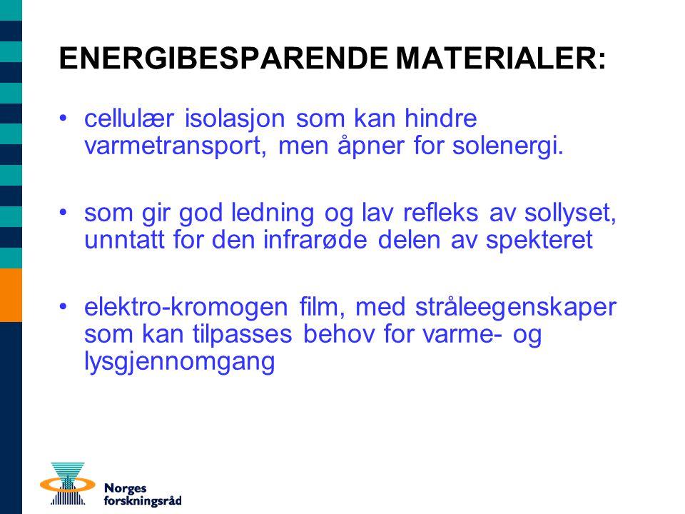 ENERGIBESPARENDE MATERIALER: cellulær isolasjon som kan hindre varmetransport, men åpner for solenergi.