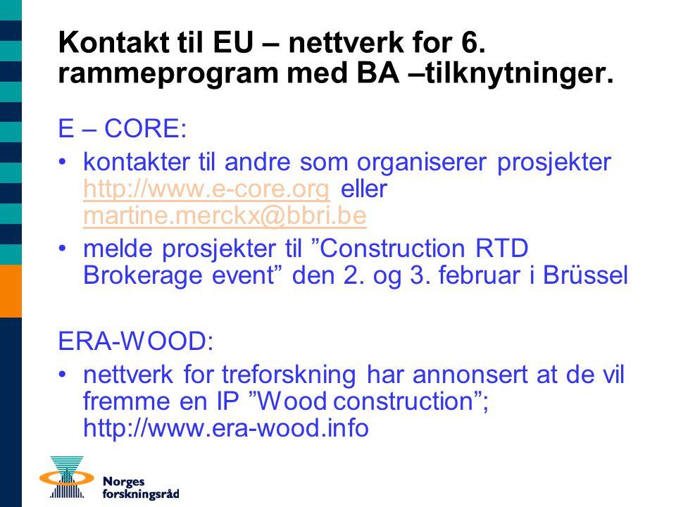 Kontakt til EU – nettverk for 6. rammeprogram med BA –tilknytninger.