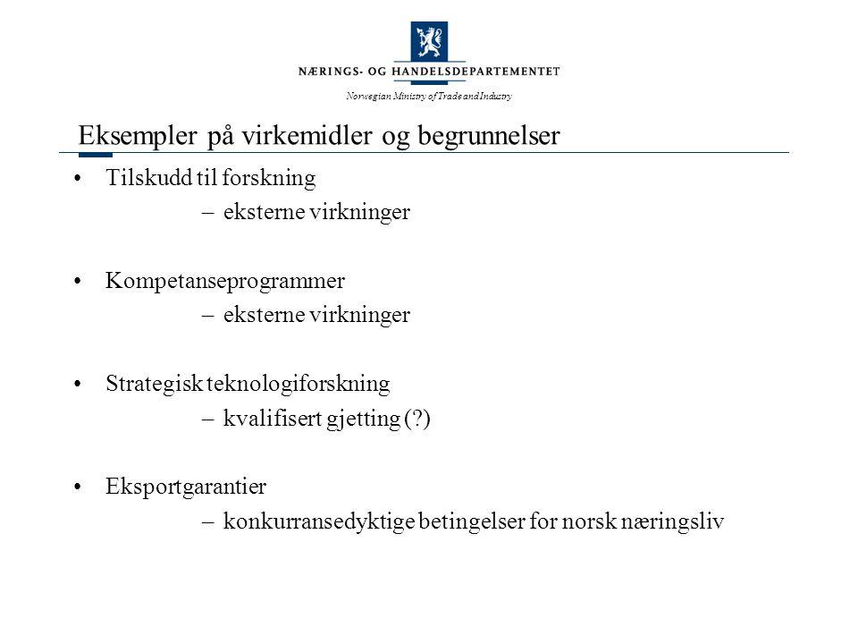 Norwegian Ministry of Trade and Industry Eksempler på virkemidler og begrunnelser Tilskudd til forskning –eksterne virkninger Kompetanseprogrammer –eksterne virkninger Strategisk teknologiforskning –kvalifisert gjetting ( ) Eksportgarantier –konkurransedyktige betingelser for norsk næringsliv