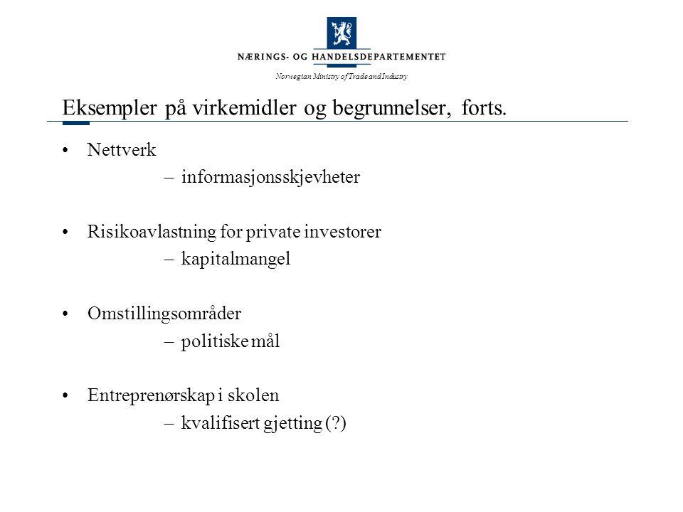 Norwegian Ministry of Trade and Industry Spørsmål til diskusjon Overser markedssviktbegrepet viktige vekstfaktorer i økonomien .
