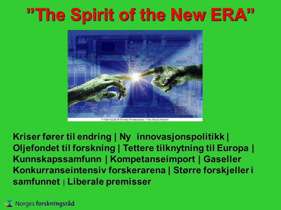 The Spirit of the New ERA Kriser fører til endring | Ny innovasjonspolitikk | Oljefondet til forskning | Tettere tilknytning til Europa | Kunnskapssamfunn | Kompetanseimport | Gaseller Konkurranseintensiv forskerarena | Større forskjeller i samfunnet | Liberale premisser