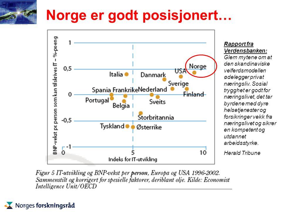 Norge er godt posisjonert… Rapport fra Verdensbanken: Glem mytene om at den skandinaviske velferdsmodellen ødelegger privat næringsliv.