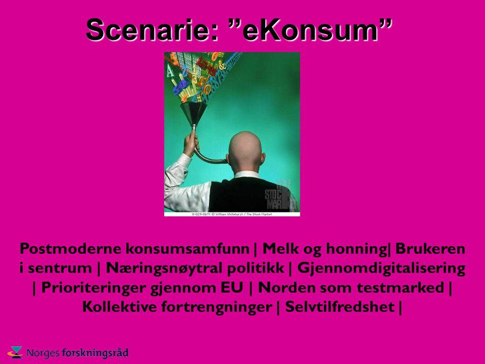 Scenarie: eKonsum Postmoderne konsumsamfunn | Melk og honning| Brukeren i sentrum | Næringsnøytral politikk | Gjennomdigitalisering | Prioriteringer gjennom EU | Norden som testmarked | Kollektive fortrengninger | Selvtilfredshet |