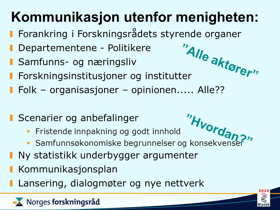 Kommunikasjon utenfor menigheten: Forankring i Forskningsrådets styrende organer Departementene - Politikere Samfunns- og næringsliv Forskningsinstitu