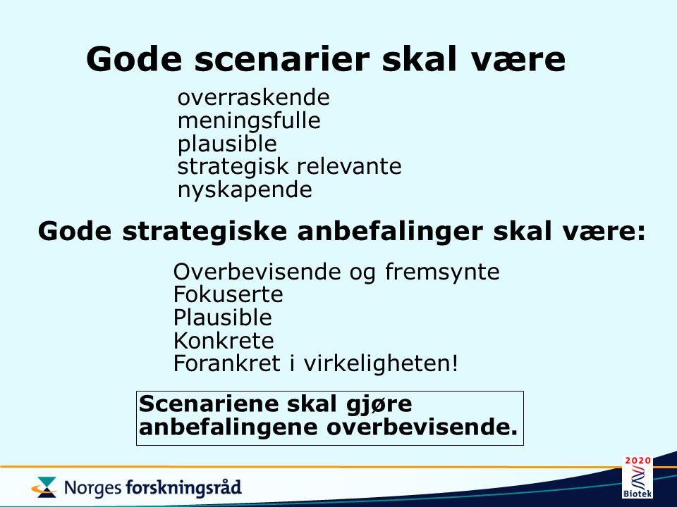 Gode scenarier skal være overraskende meningsfulle plausible strategisk relevante nyskapende Gode strategiske anbefalinger skal være: Overbevisende og fremsynte Fokuserte Plausible Konkrete Forankret i virkeligheten.