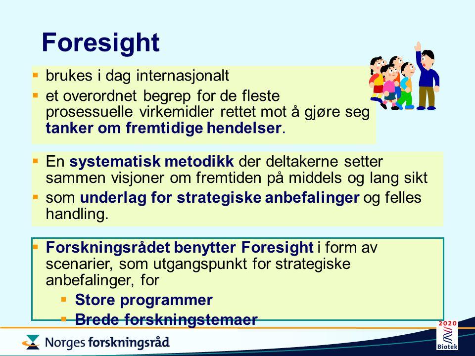 Foresight  brukes i dag internasjonalt  et overordnet begrep for de fleste prosessuelle virkemidler rettet mot å gjøre seg tanker om fremtidige hend