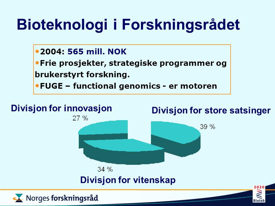 Bioteknologi i Forskningsrådet Divisjon for store satsinger Divisjon for innovasjon Divisjon for vitenskap 2004: 565 mill. NOK Frie prosjekter, strate