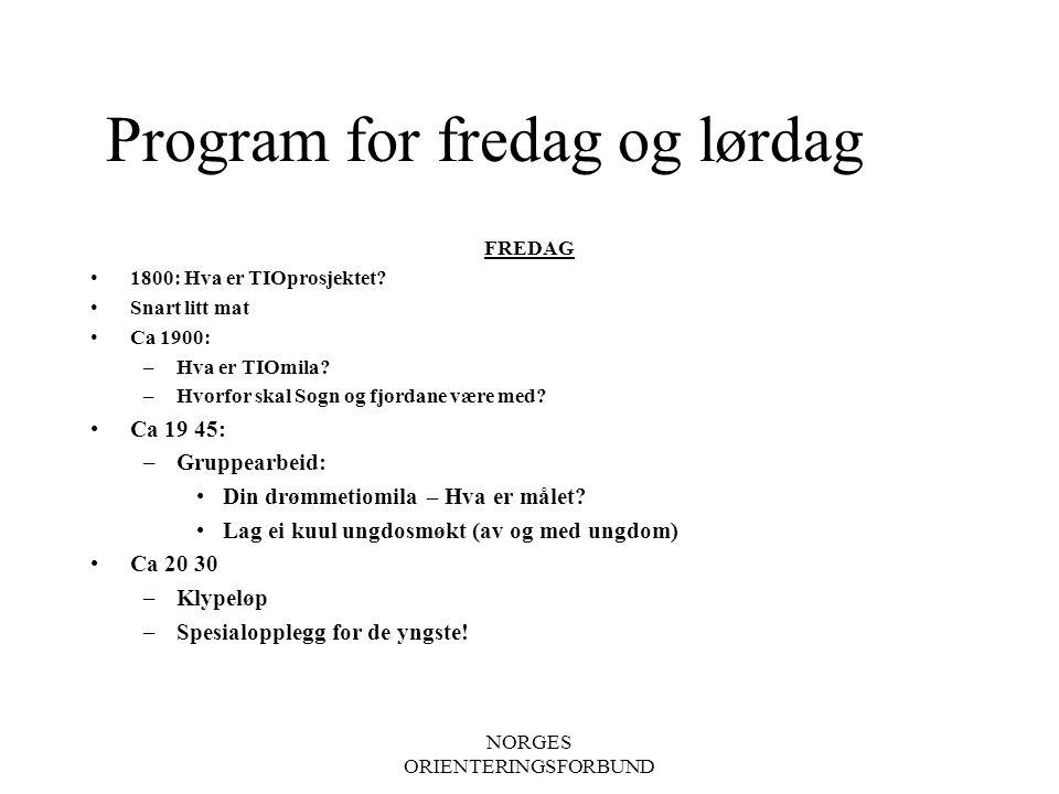 NORGES ORIENTERINGSFORBUND Program for fredag og lørdag FREDAG 1800: Hva er TIOprosjektet.