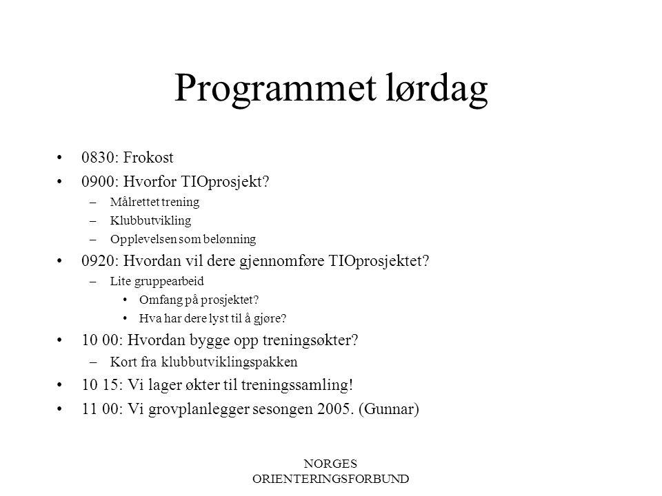 NORGES ORIENTERINGSFORBUND Programmet lørdag 0830: Frokost 0900: Hvorfor TIOprosjekt.