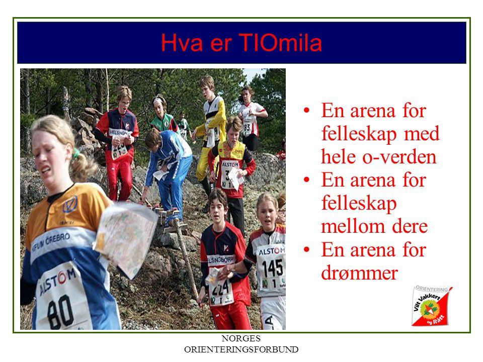 NORGES ORIENTERINGSFORBUND Hva er TIOmila En arena for felleskap med hele o-verden En arena for felleskap mellom dere En arena for drømmer