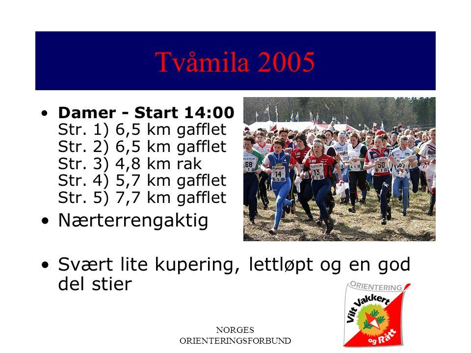 NORGES ORIENTERINGSFORBUND Tvåmila 2005 Damer - Start 14:00 Str.