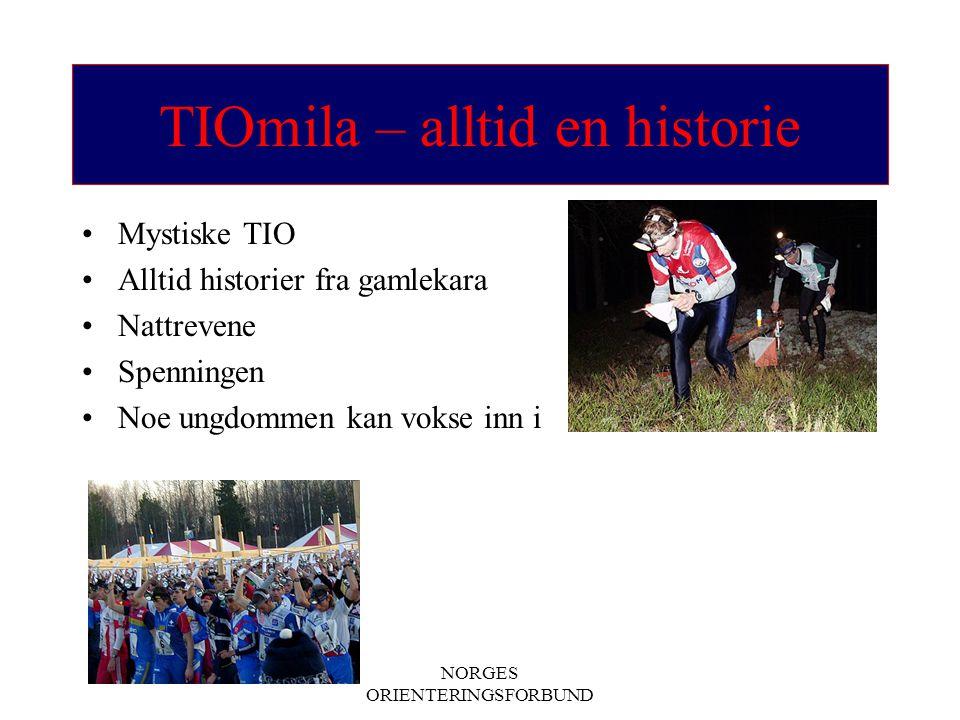 NORGES ORIENTERINGSFORBUND TIOmila – alltid en historie Mystiske TIO Alltid historier fra gamlekara Nattrevene Spenningen Noe ungdommen kan vokse inn i
