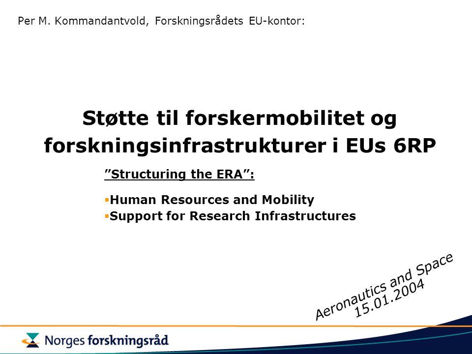 Støtte til forskermobilitet og forskningsinfrastrukturer i EUs 6RP Per M.