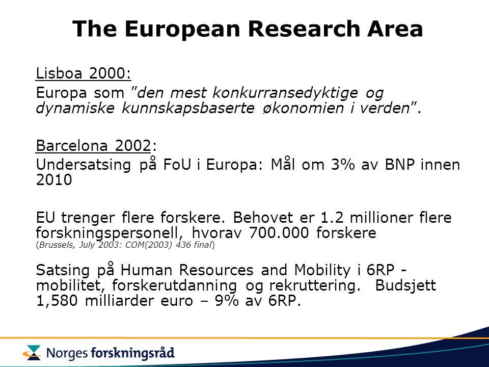 The European Research Area Lisboa 2000: Europa som den mest konkurransedyktige og dynamiske kunnskapsbaserte økonomien i verden .