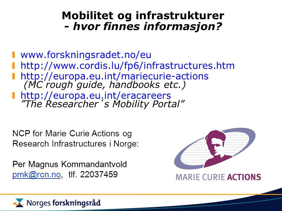Mobilitet og infrastrukturer - hvor finnes informasjon.