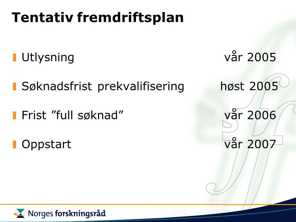 """Tentativ fremdriftsplan Utlysning vår 2005 Søknadsfrist prekvalifiseringhøst 2005 Frist """"full søknad"""" vår 2006 Oppstart vår 2007"""