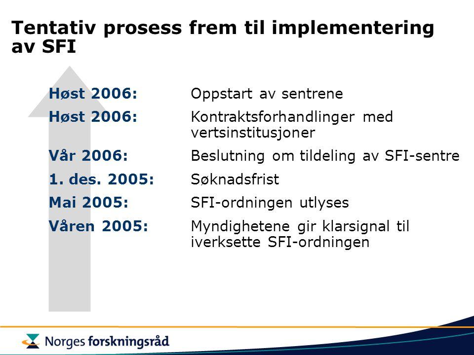 Tentativ prosess frem til implementering av SFI Høst 2006: Oppstart av sentrene Høst 2006:Kontraktsforhandlinger med vertsinstitusjoner Vår 2006: Besl