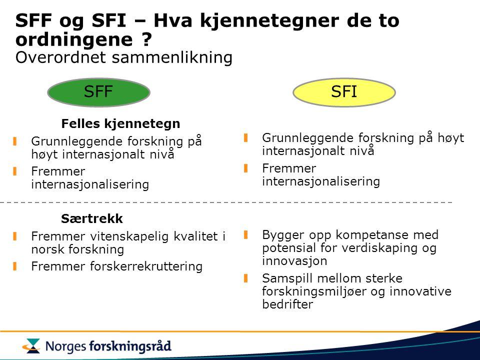 SFF og SFI – Hva kjennetegner de to ordningene ? Overordnet sammenlikning Felles kjennetegn Grunnleggende forskning på høyt internasjonalt nivå Fremme