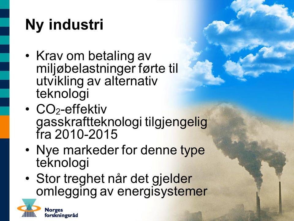 Ny industri Krav om betaling av miljøbelastninger førte til utvikling av alternativ teknologi CO 2 -effektiv gasskraftteknologi tilgjengelig fra 2010-2015 Nye markeder for denne type teknologi Stor treghet når det gjelder omlegging av energisystemer