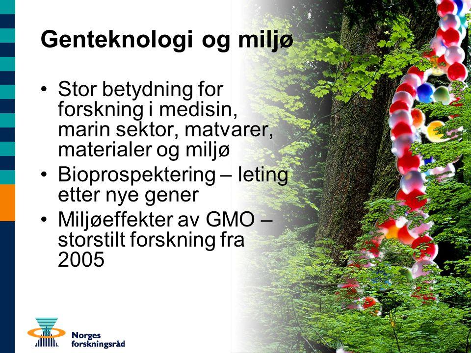 Genteknologi og miljø Stor betydning for forskning i medisin, marin sektor, matvarer, materialer og miljø Bioprospektering – leting etter nye gener Miljøeffekter av GMO – storstilt forskning fra 2005