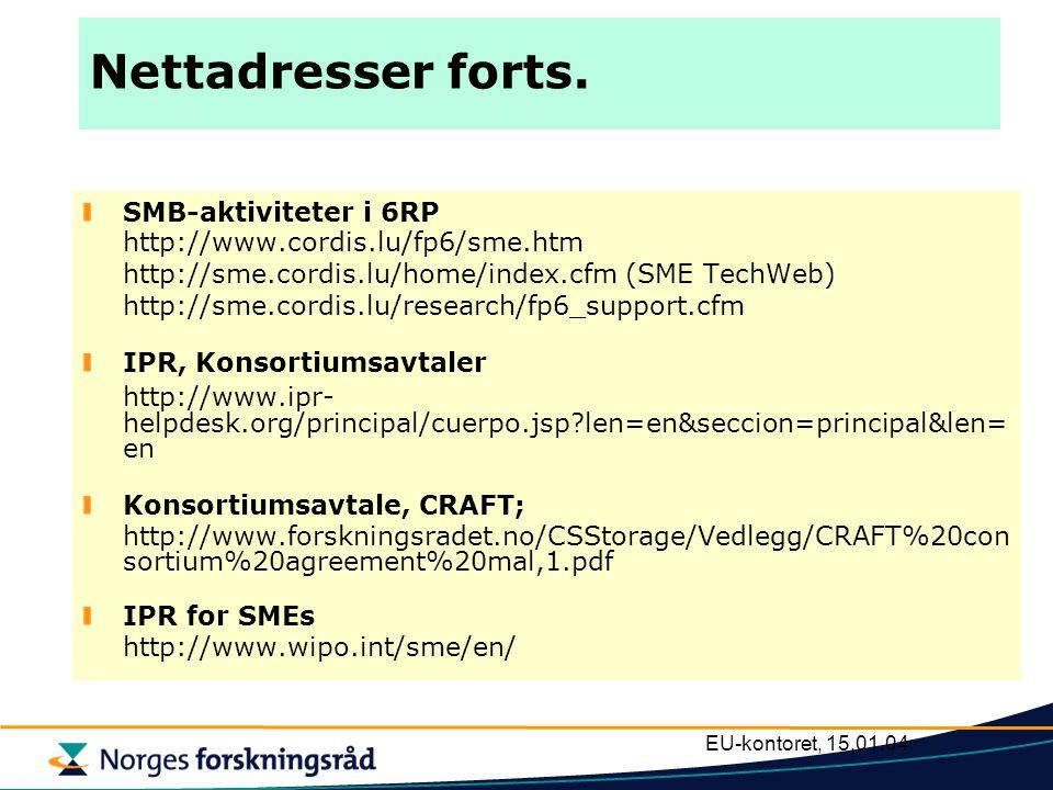 EU-kontoret, 15.01.04 Nettadresser forts. SMB-aktiviteter i 6RP http://www.cordis.lu/fp6/sme.htm http://sme.cordis.lu/home/index.cfm (SME TechWeb) htt