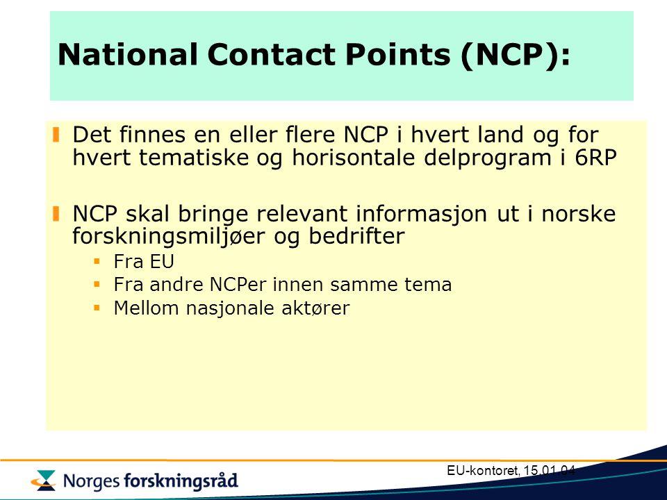 EU-kontoret, 15.01.04 National Contact Points (NCP): Det finnes en eller flere NCP i hvert land og for hvert tematiske og horisontale delprogram i 6RP NCP skal bringe relevant informasjon ut i norske forskningsmiljøer og bedrifter  Fra EU  Fra andre NCPer innen samme tema  Mellom nasjonale aktører